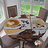 ThinkingPower Tablecloths Coffee Themed Collage of Beans Mugs Hot Foamy Drink with a Heart Macro Aroma Photo Fine Tablecloth Color is Tasteful and Perfect Brown White Diameter - 47 Inch