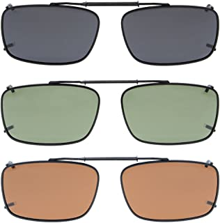 Grey/Brown/G15 Lens 3-pack Clip-on Polarized Sunglasses 2 3/16