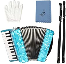 IRIN 22-Key 8 Bass Piano Accordion Educational Musical Instrument Rhythm Toy Acordions Instruments Children Sccordion Instrument for Beginners Students Red Blue Green(Blue)