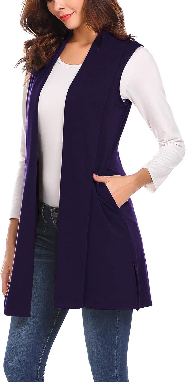 MAXMODA Ärmellose Strickjacke Damen Lang Westen Damen Mantel Jacke mit Seitentasche für Sommer und Herbst A-lila