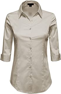 363bfc41 MAYSIX APPAREL 3/4 Sleeve Stretchy Button Down Collar Office Formal Casual Shirt  Blouse for