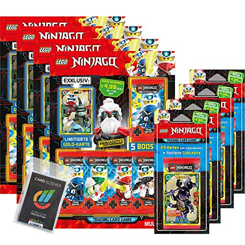 Lego Ninjago - Serie 5 Trading Cards - Alle 4 Blister+ 4 Multipacks + Collect-it Sleeves - Deutsch