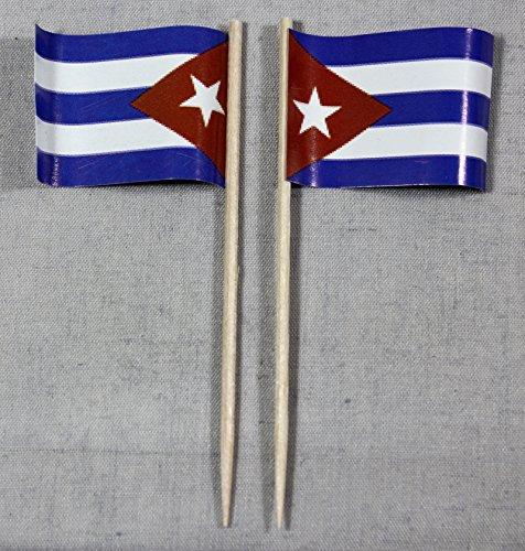 Buddel-Bini Party-Picker Flagge Kuba Cuba Papierfähnchen in Profiqualität 50 Stück Beutel Offsetdruck Riesenauswahl aus eigener Herstellung