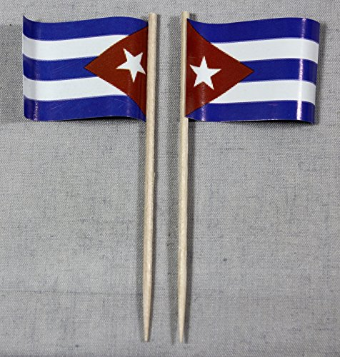 Buddel-Bini Party-Picker Flagge Kuba Cuba Papierfähnchen in Profiqualität 50 Stück Beutel Offsetdruck Riesenauswahl aus eigener Herstellung