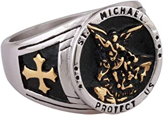 Gold Plated Saints Michael The Archangel Catholic Medal Stainless Steel Amulet Mens Womens Ring