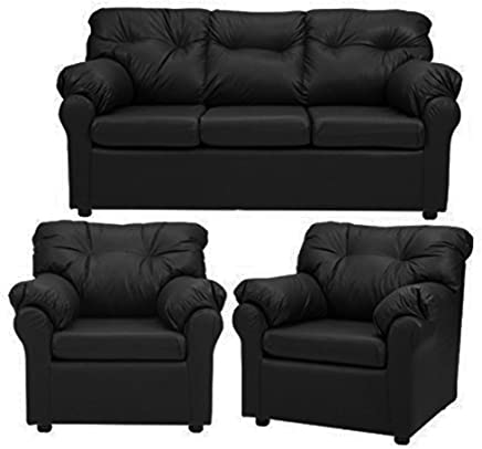Furny Elzada Five Seater Sofa Set 3-1-1 (Black)