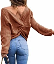 Sexyshine Women's Casual V Neck Criss Cross Backless Long Batwing Sleeve Loose Knitted Sweater Pullovers