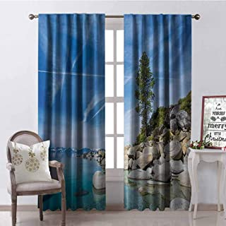 Lake 99% Blackout Curtains Clear Dreamy Sky Over Inland Creek Surrounded by Land Liquid Surface of Earth Print for Bedroom Kindergarten Living Room W72 x G96 Inch Blue Grey