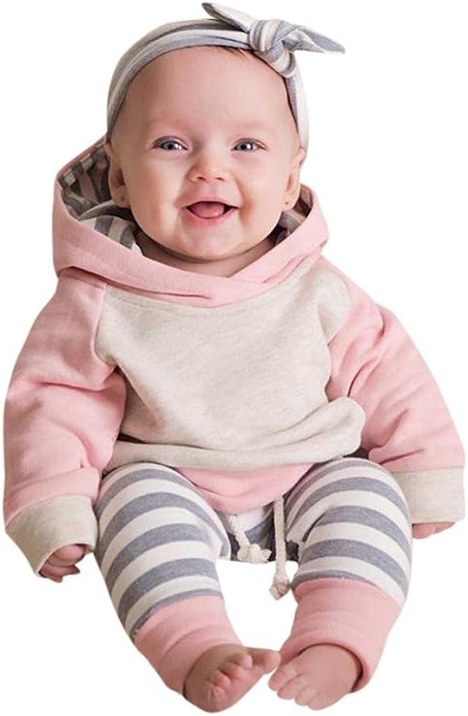 Sharemen Baby Boy Girl Long Sleeve Hoodie Tops Sweatsuit Pants Headband