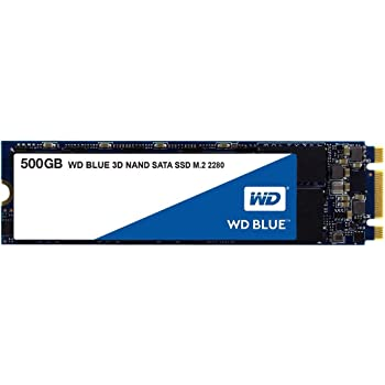 Western Digital 500GB WD Blue 3D NAND Internal PC SSD - SATA III 6 Gb/s, M.2 2280, Up to 560 MB/s - WDS500G2B0B