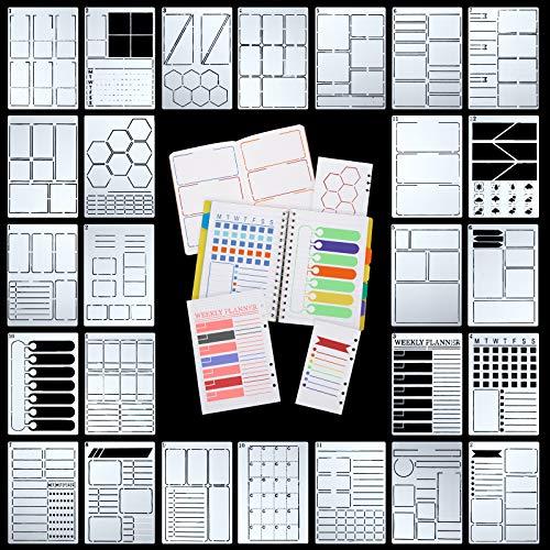 26 Stücke A5 Journal Schablonen Kunststoff Planer Set DIY Vorlagen Planer Wöchentlich Layouts Kugel Punkt Gitter Tagebuch Schablonen für DIY Notizbuch Tagebuch