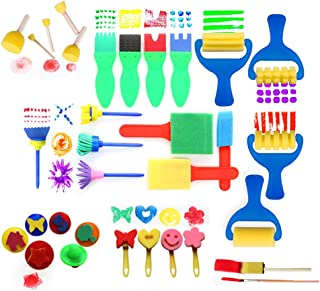Beauenty Early Learning Kids Paint Set Kit Toy Mini Flower Sponge Paint Brushes Painting Drawing Toys (Colors Randomly Sent)
