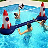 Swimming Pool Inflatable Volleyball Net- Water Game 2021- Rocket Man Edition-Inflatable Volleyball Net with Ball Included- Perfect for Competitive Water Play- Ultimate Summer Toy 118x39x30 inch