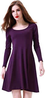 Women's Long Sleeve Round Neck Fit and Flare Casual Dress
