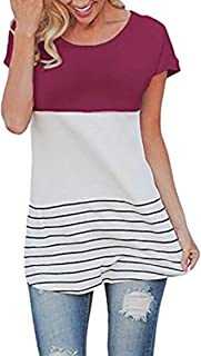 Women's Color Block Striped Crewneck Patchwork Short Sleeve Comfy Loose Fit Tunic Tops M