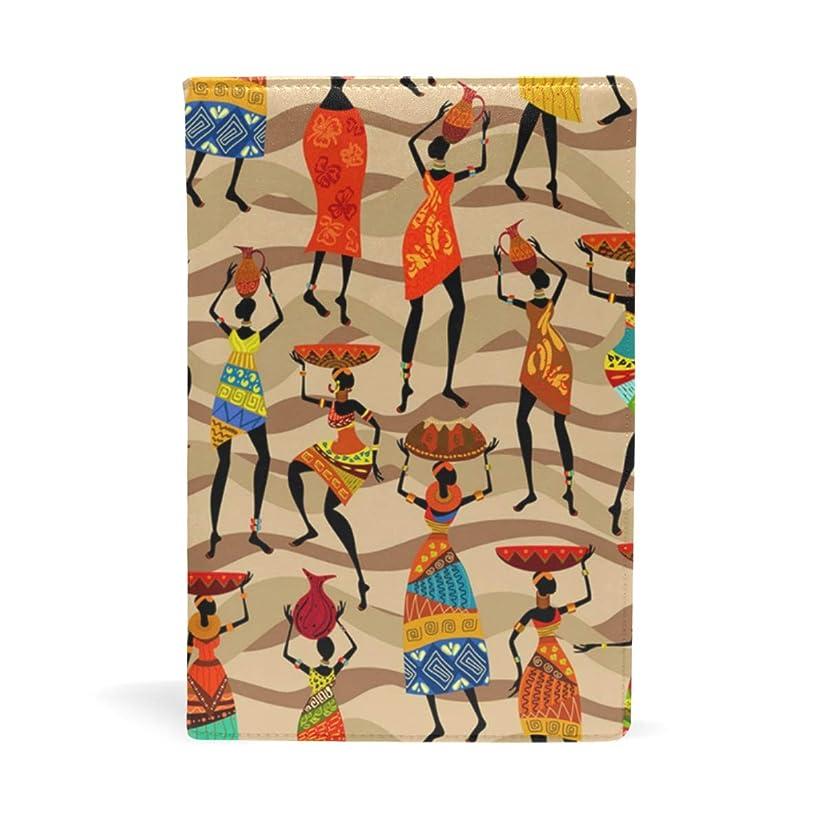 蒸発破壊的遠え水彩アフリカ女性 ブックカバー 文庫 a5 皮革 おしゃれ 文庫本カバー 資料 収納入れ オフィス用品 読書 雑貨 プレゼント耐久性に優れ