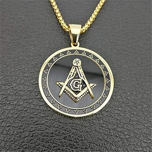 Yiffshunl Collar Hip Hop Collar con Colgante de símbolo masónico de Acero Inoxidable para Hombres/Mujeres Color Mason Collares Free Mason Jewelry Collar Regalo