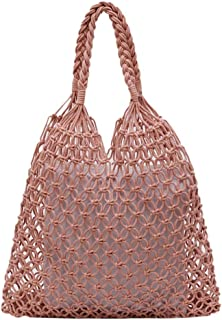 Wultia - Shoulder Bag Women's Fashion Woven Shoulder Bag Solid Color Handbag Woven Bag Beach Bag sac Bolsa Feminina #G8 Pink