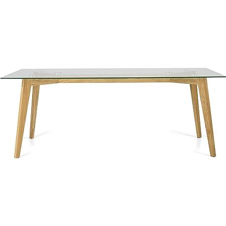 Tenzo 3623-090 Dine Designer Table Salle à Manger, Verre/Chêne, Plateau trempé ép. 10 mm, 75,5 x 200 x 90 cm (HxLxP)