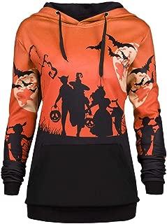 iYBUIA 2018 Halloween Moon Bat Print Women Hooded Drawstring Pocket Hoodie Sweatshirt Tops