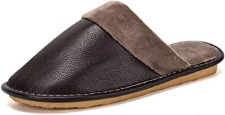 Dundun-Shoes, Winter Slipper for Men Indoor Slipper Slip On PU Leather Warm Lightwight Durable Comfortable Soft Solid Colors Flexible Flats Easy Care Durable (Color : Brown, Size : 8 UK)