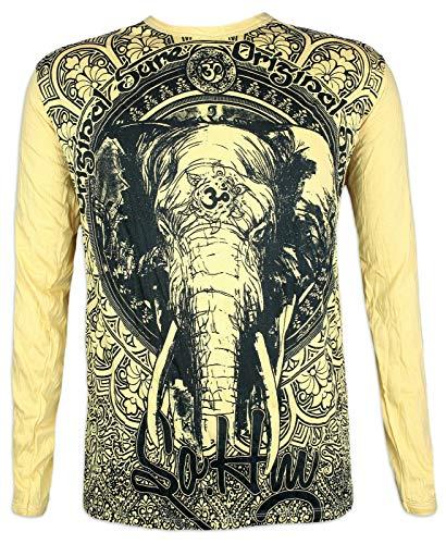 Sure Clothing Herren Longsleeve T-Shirt Om Ganesha Größe M L XL Elefanten-Gott Indien Hinduismus Symbol (Gelb XL)
