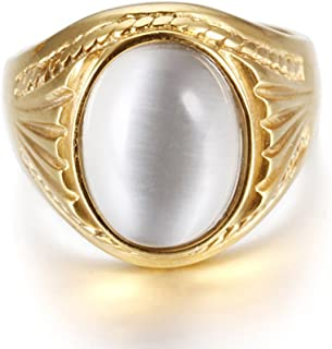 LILILEO Jewelry Gold Stainless Steel Polished Natural White Oval Tigers Eye Stone Ring For Men's Rings
