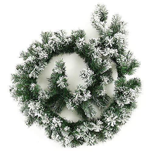 FullLove 180cm Lang Weihnachtsgirlande mit Schneeflocken verziert- Künstliches Weihnachten-Deko für Treppe Tür Fenster Aussen Innen - Tannengirlande in Grün