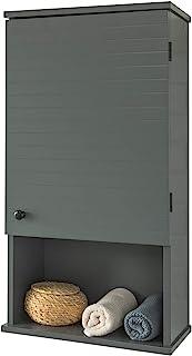 SoBuy® BZR25-DG Meuble Haut Armoire Suspendue de Toilettes Placard Mural avec Porte pour Salle de Bain Armoire à Pharmacie...