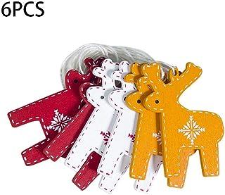 Rubyu Juego de 6 Piezas Decoraciones Navideñas Familia Navidad Accesorios para Colgar Suministros Adornos para Árboles de Navidad con Dibujos