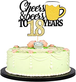 LVEUD Happy Birthday Cake Topper Let we Cheers Cheer 18 Years Happy Birthday -Wedding,Anniversary,Birthday Party Decorations (18th)