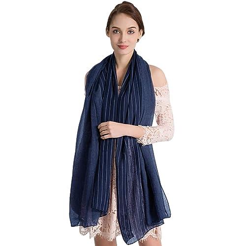 Muryobao Women s Fashion Scarves Lightweight Soft Cotton Shawls Wraps Solid  Striped 19bdc8686