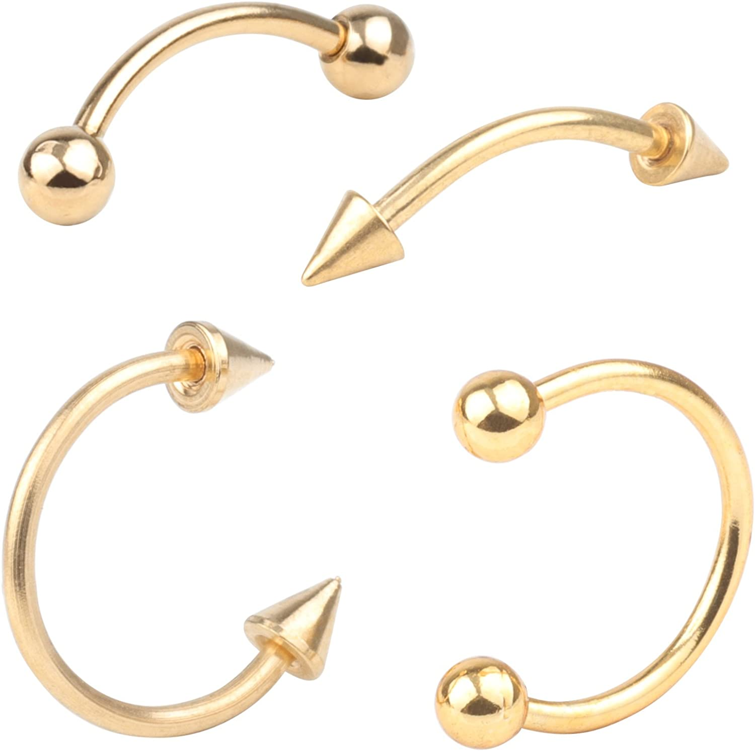 feiyan86 FY 16G 4pcs Surgical Steel Body Jewelry Piercing Eyebrow Belly Rings Set Nose Horseshoe Tragus Lip Piercing 3mm Ball Spike 10mm