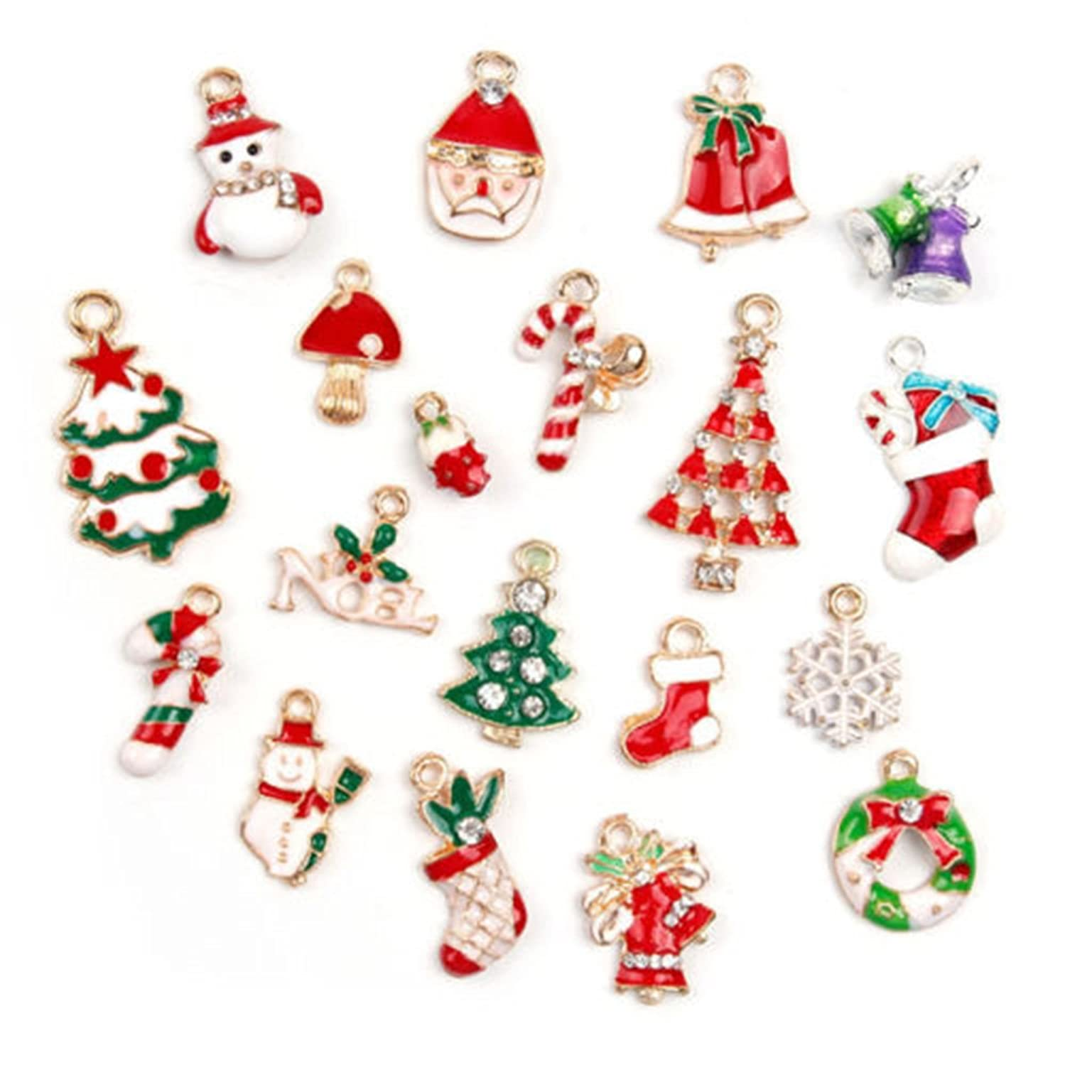 ORYOUGO Wholesale 19pcs Christmas Tree Snowman Snowflake Deer Bell Charm Enamel Gold Toned Pendants DIY for Jewelry Making and Crafting,Type B(with 5Pcs Necklace Making Cord)