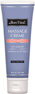 Bon Vital' Deep Tissue Massage Crème, Professional Massage Therapy Cream for Muscle Relaxation, Muscle Soreness, Injury Re...