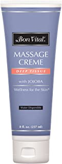 Bon Vital' Deep Tissue Massage Crème, Professional Massage Therapy Cream for Muscle Relaxation, Muscle Soreness, Injury Recovery, Deep Muscle Manipulation, Sports Massages, 8 Ounce Tube