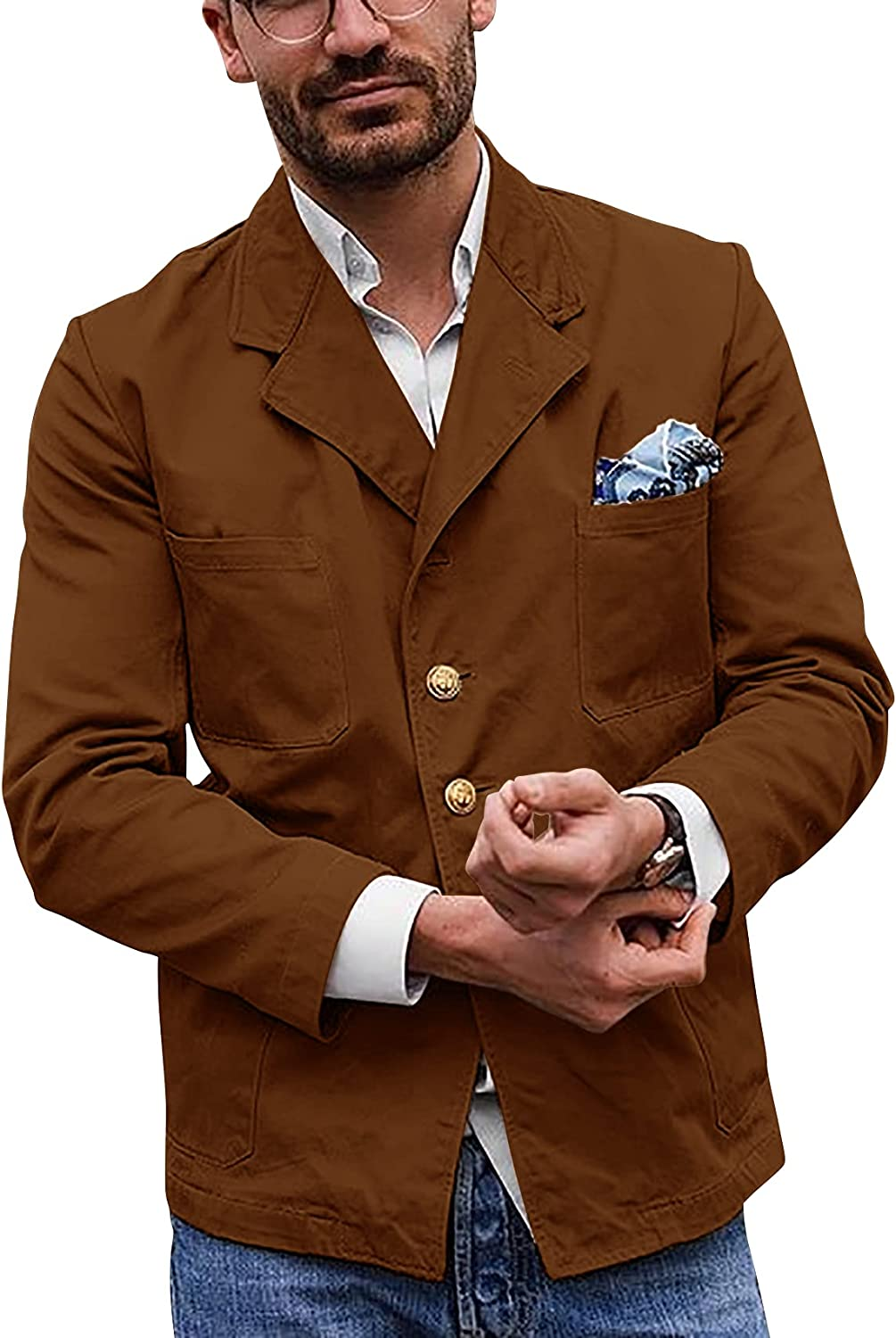Gafeng Mens Cotton Lightweight Jacket Casual Utility Single Breasted Multi-pocketed Suit Jacket