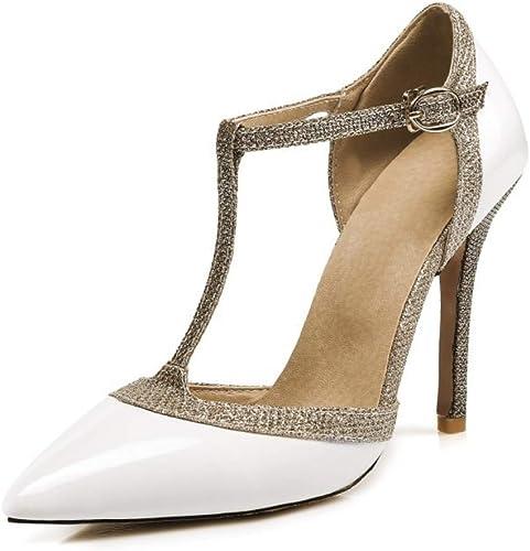 LIANGXIE Orteil Orteil Pointu T Sangle Talons Hauts Cheville Sangle Sandales Diamante Stilettos Chaussures de soirée pour Les Femmes Robe de soirée Chaussures,blanc,43  aucune hésitation! achetez maintenant!