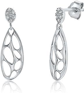 Montage Jewelry Women's Modern Tear Design Sterling Silver & Cubic Zirconia Drop Earrings