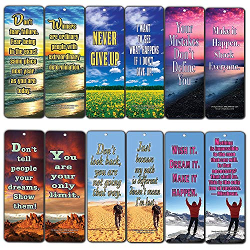 Creanoso Inspiring Success Inspirational Quotes Bookmarks (12-Pack) - Never Give Up Cards Bookmarker - Positive Wisdom Motivational Sayings Gifts for Men Women Adults Teens Kids Boys Girls