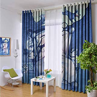 hengshu Surrealistic Room Darkened Insulation Grommet Curtain Sheep Counting Wolfs Living Room W96 x L96 Inch