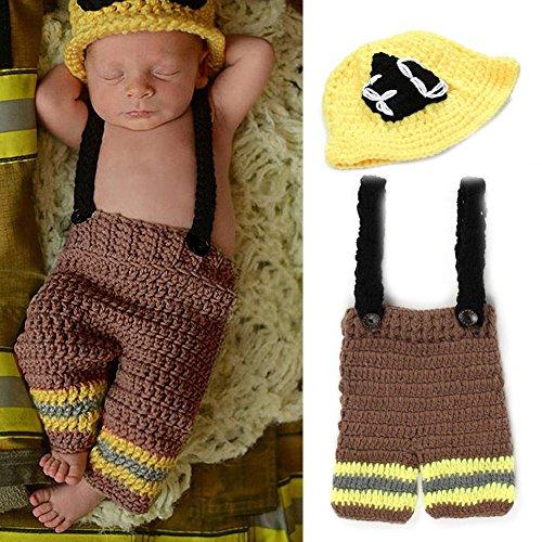 yazi Pasgeboren baby Fotografie Props Brandweerman Caps Broek Gehaakte Gebreide Kostuum door yazi