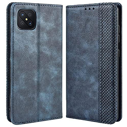 DOINK Retro Klapp Hülle für Oppo Reno4 Z 5G, Premium PU Leder Handyhülle mit Kartenfächer & Geldbeutel - Blau