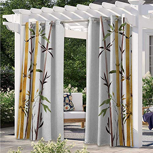 Adorise Blackout Curtains Bamboo Grove Calm Your Mind Slow Down Zen Relax Hand Drawn Style Artwork Waterproof Patio Curtains to Shield The Patio from The Sun Cream Brown White W108 x L84 Inch