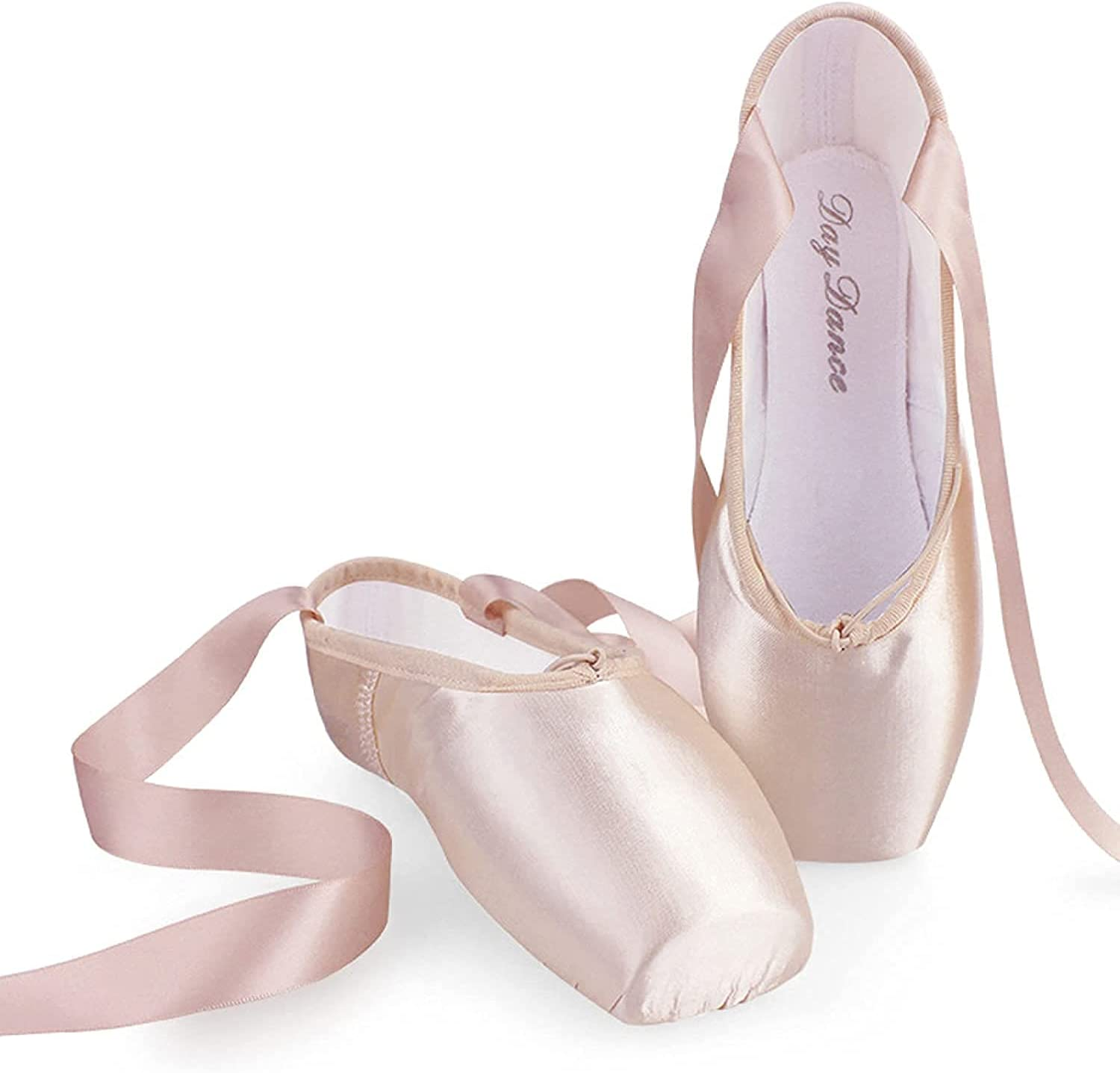 Ballet Pointe Shoes, Pink Professional Dance Shoes Full Sole Satin Ballet Shoes-with Sewn Ribbon for Girls Women (Color : Pink Satin, Size : 39)