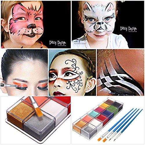 LuckyFine Professionnel 12 Couleurs Peinture à Huile Maquillage Corporel Visage Oil Paintng + 4Pcs Pinceaux à Peinture