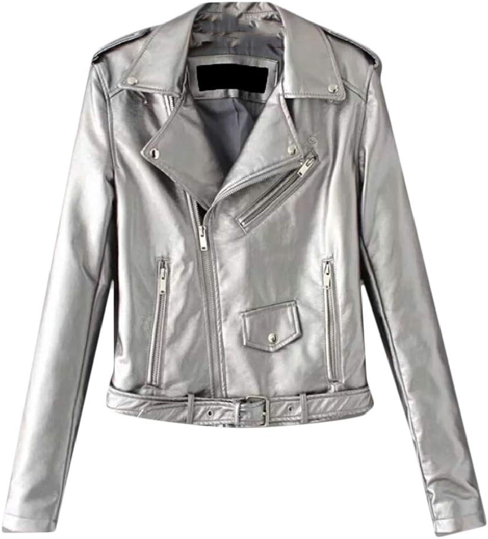 Gocgt Women's Sexy Long Sleeves PU Leather Moto Jacket Leather Coat