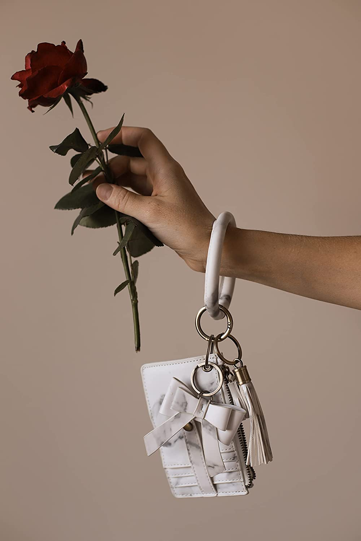ECOSUSI Wristlet Keychain Key Ring Wallet Bracelets Card Holder Purse with Tassel