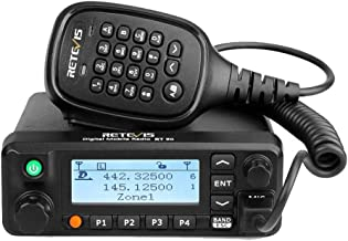 Retevis RT90 Mobile Radios Digital Ham 50W Dual Band VHF UHF 250 Zones 3000 CH 10000 Contacts DMR Amateur Mobile Radio with Recording (Black, 1 Pack)