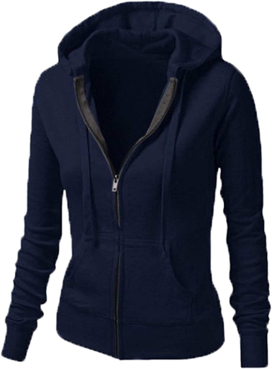 Andongnywell Women's Soft Cotton Basic Casual Solid Midweight Zipper-Up Hoodie Jackets Coats Overcoats : Clothing, Shoes & Jewelry
